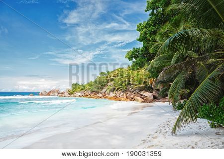 Beautiful sand beach with granite boulders and palm trees,  La Digue, Seychelles.