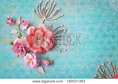 floral scrapbook greeting card details. frame background