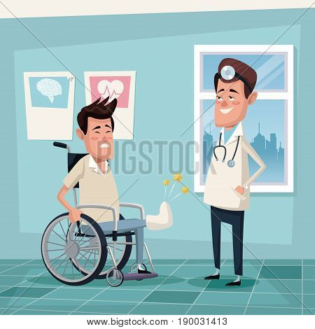 color background hospital room with young man in wheelchair and specialist male doctor vector illustration