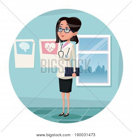 circular frame with color scene hospital room with woman specialist doctor vector illustration