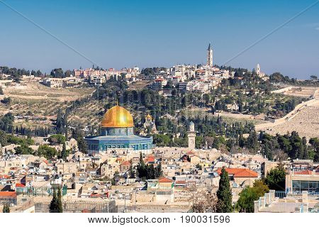 Jerusalem Old City aerial view with Dome Of The Rock, Israel