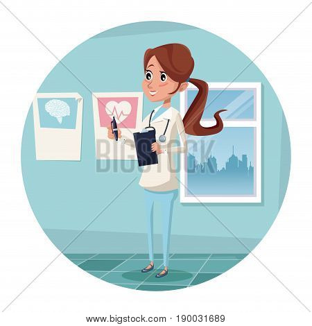 circular frame with color scene hospital room with woman therapist vector illustration