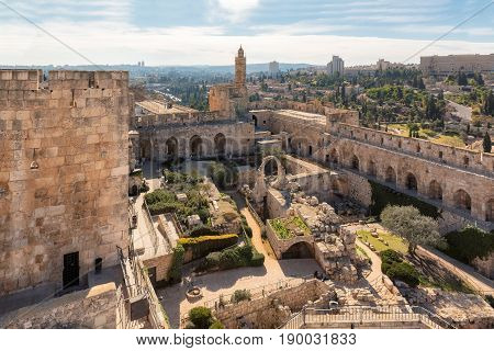 David castle and tower in Jerusalem Old City, Israel