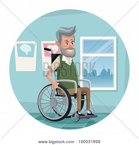 circular frame with color scene hospital room with elderly man in wheelchair vector illustration