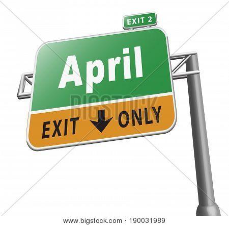month april spring month road sign billboard