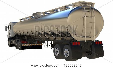 Large white truck tanker with a polished metal trailer. Views from all sides. 3d illustration