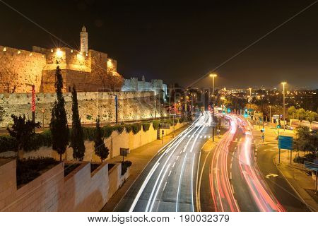Night Jerusalem Old City, David tower, Israel