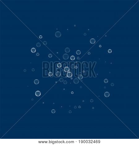 Soap Bubbles. Small Double Circle With Soap Bubbles On Deep Blue Background. Vector Illustration.