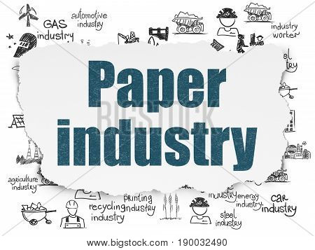 Industry concept: Painted blue text Paper Industry on Torn Paper background with  Hand Drawn Industry Icons