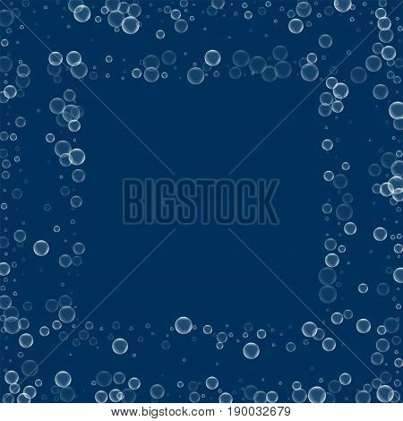 Soap Bubbles. Square Scattered Frame With Soap Bubbles On Deep Blue Background. Vector Illustration.