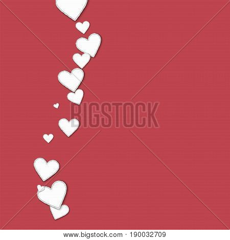 Cutout Paper Hearts. Left Wave On Crimson Background. Vector Illustration.