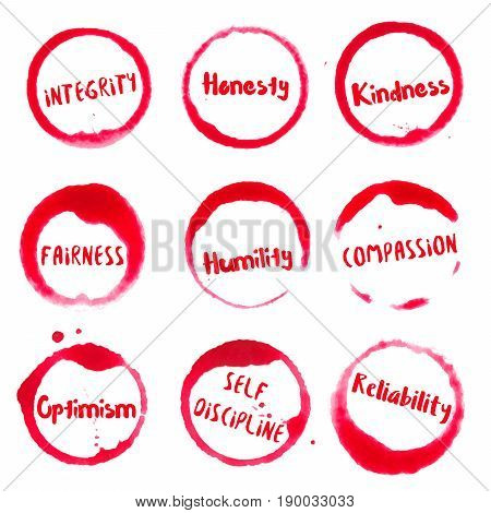Positive Character Traits Collection Of Round Watercolor Stains With Integrity, Honesty, Kindness, H