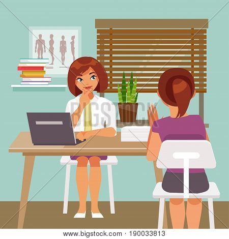 Woman doctor is taking patients. The medical office. Vector illustration