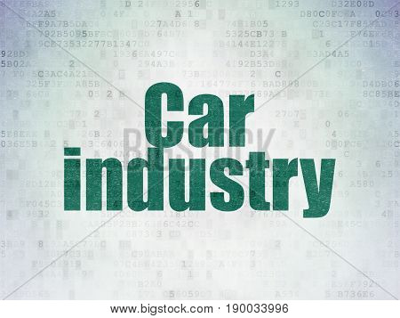 Manufacuring concept: Painted green word Car Industry on Digital Data Paper background