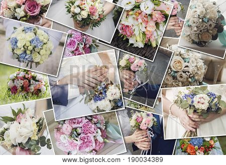 Collage set wedding bouquets. Wedding ceremony and fresh flowers in hands of bride. Collection of beautiful wedding bouquets