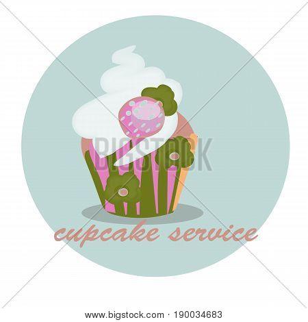 cupcake design, catering service.Menu cover, web icon hand drawn