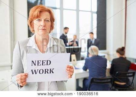 Senior business woman as unemployed candidate needs to find a job