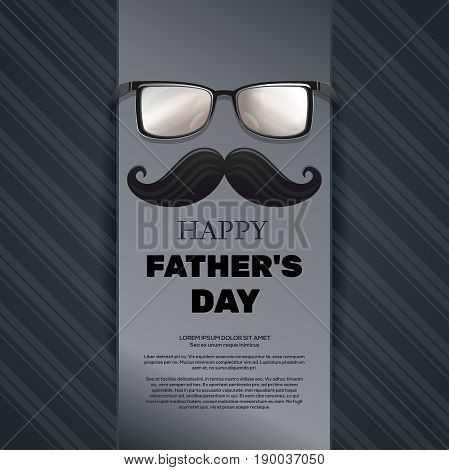 Fathers Day card. Smoking pipe, mustache, glasses, bow tie and greeting inscription - Happy Fathers Day. Elegant lettering on a retro background. Vector illustration