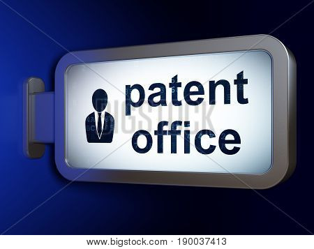 Law concept: Patent Office and Business Man on advertising billboard background, 3D rendering