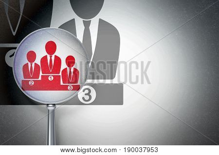Law concept: magnifying optical glass with Business Team icon on digital background, empty copyspace for card, text, advertising, 3D rendering