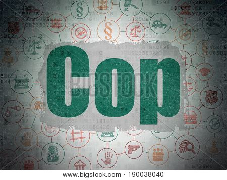 Law concept: Painted green text Cop on Digital Data Paper background with  Scheme Of Hand Drawn Law Icons