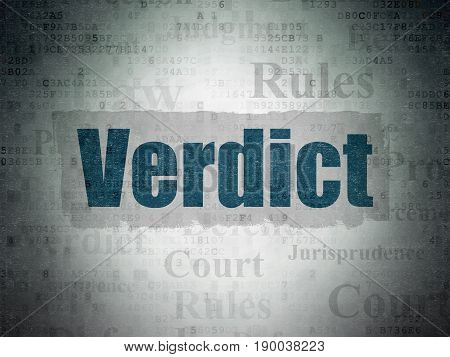 Law concept: Painted blue text Verdict on Digital Data Paper background with   Tag Cloud