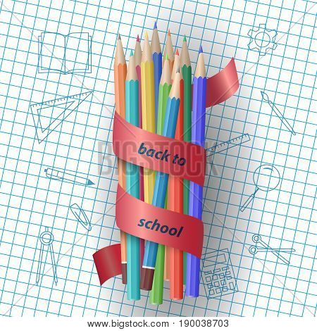 Colorful pencils with the inscription Back to school on red ribbon. School supplies. Education and school concept. Vector illustration
