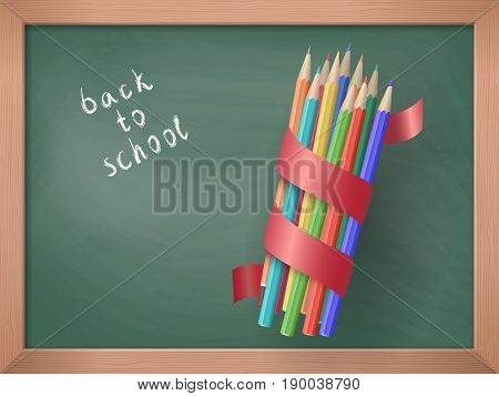 Colorful pencils with a red ribbon on the background of a school board. Back to school. Education and school concept. Vector illustration