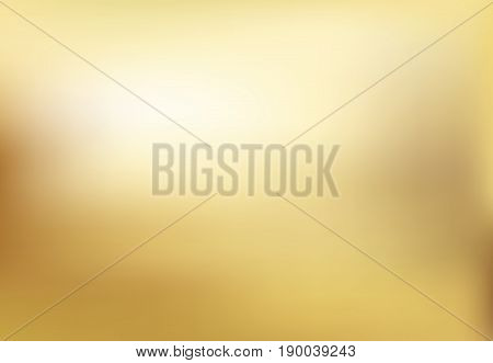 Vector gold blurred gradient style background. Abstract smooth illustration wallpaper.