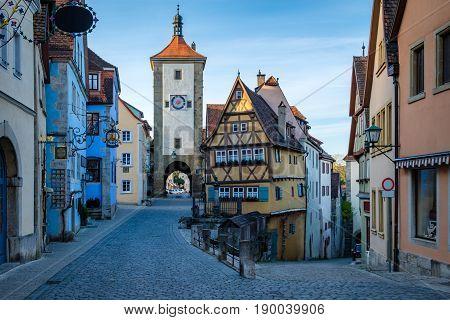 Plonlein the most photo spot of Rothenburg ob der tauber Bavaria Germany.