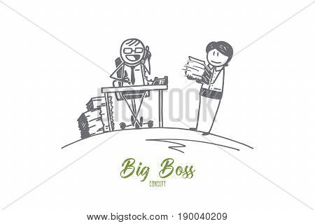 Vector hand drawn Big boss concept sketch. Big boss in glasses sitting in his cabinet and talking and his secretary is standing near