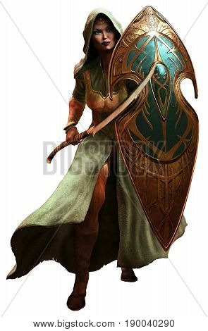Elf warrior with scimitar and shield 3D illustration