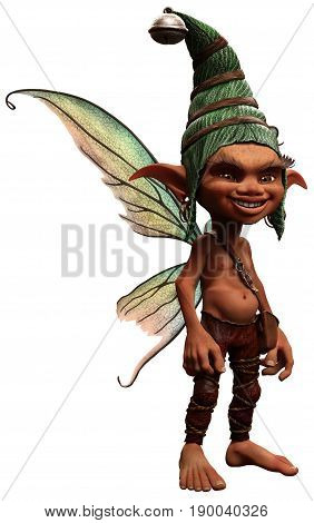 Pixie boy with wings and a hat 3D illustration