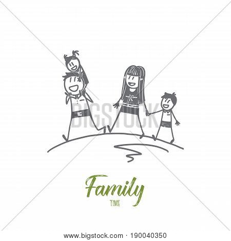 Vector hand drawn family time concept sketch with father and mother walking with their little daughter and son alltogether