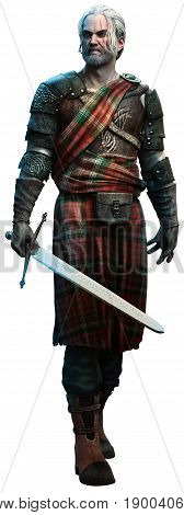 Celtic warrior with a sword 3D illustration