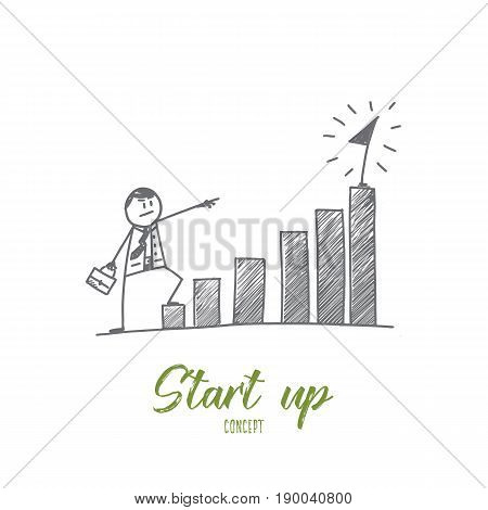 Vector hand drawn Start up concept sketch. Businessman standing at the beginning of his project and looking forward to its success