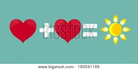 successful relationship two hearts and a sun . Stock vector illustration for poster, greeting card, website, ad, business presentation, advertisement design.