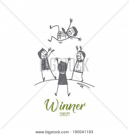 Vector hand drawn Winner concept sketch. Three people tossing winner on hands to the air