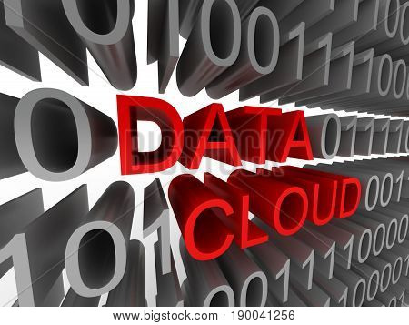 Data cloud in the form of binary code isolated on white background. High quality 3d render.