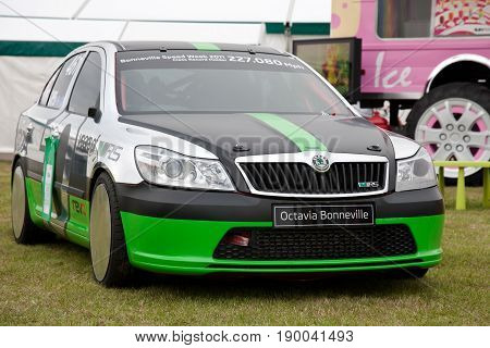 NEWBURY, UK - SEPTEMBER 21: A Skoda works racing motorcar is placed on public display as part of a trade stand show at the Berks County show on September 21, 2013 in Newbury