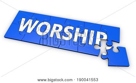 Worship sign and text development concept on blue jigsaw puzzle 3D illustration on white background.