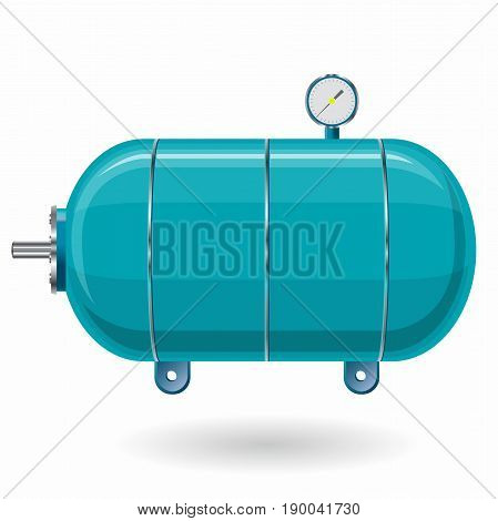 Blue pressure vessel for water, gas, air. Pressure tank for storage of material, water. Valves, measuring unit, handles. Flatten icon illustration.