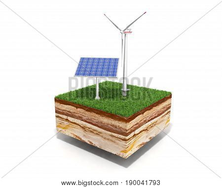 Concept Of Alternative Energy 3D Illustration Of Cross Section Of Ground With Grass Isolated On Whit