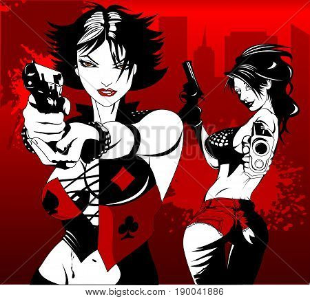 Beautiful woman in black suits with a weapon vector and illustration