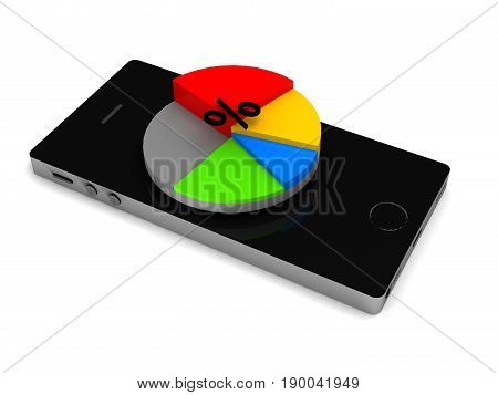 Mobile analytics. Smartphone with chart pie isolated on white background. High quality 3d render.