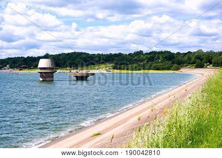 Bewl water reservoir in Lamberhurst, Kent, England. View of the river, selective focus