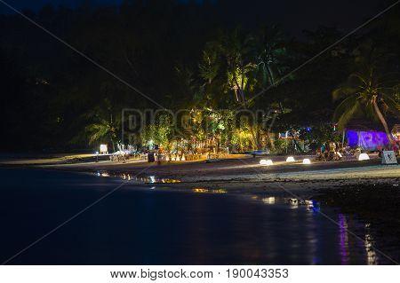 KOH PHANGAN THAILAND - DECEMBER 14 2016: Beach bar and night clubs at island Koh Phangan Thailand