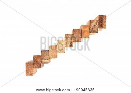 row Wooden jigsaw isolated in White background