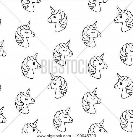 Elegant Unicorn Vector Seamless Pattern. Horse Head Sleep. Black And White Outline  Icon Isolated.