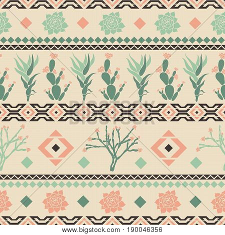 Sempervivum, Haworthia, Opuntia, Hatiora. Seamless pattern with cacti, succulents and geometric shapes in the form of a rhombus, triangles. Vector illustration.